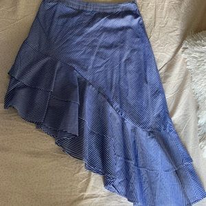 Stripped asymmetrical skirt